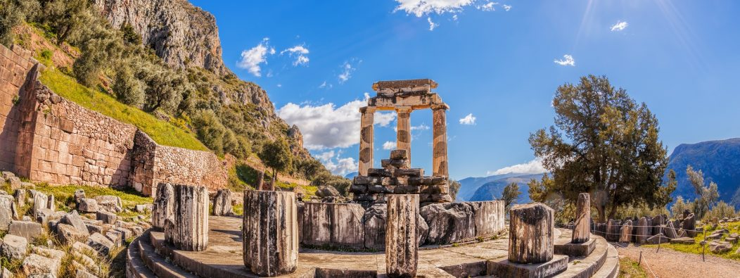 Delphi,With,Ruins,Of,The,Temple,In,Greece